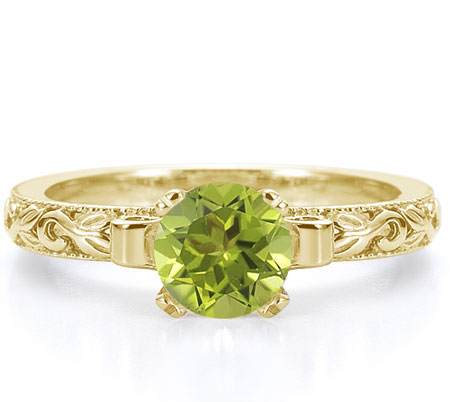 1 Carat Floral Green Peridot Engagement Ring, 14K Yellow Gold