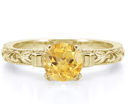 1 Carat Lotus Flower Design Citrine Engagement Ring, 14K Yellow Gold