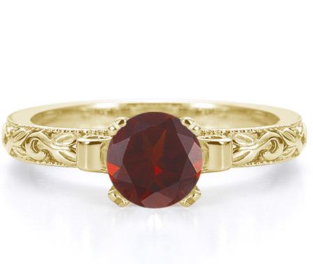 1 Carat Lotus Flower Red Garnet Engagement Ring, 14K Yellow Gold