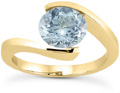 1 Carat Tension-Set Aquamarine Ring, 14K Yellow Gold