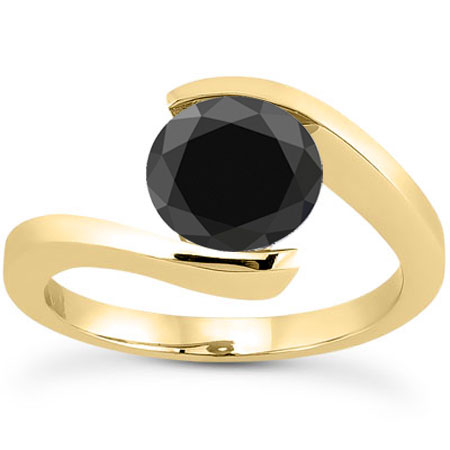 1 Carat Tension-Set Black Diamond Engagement Ring, 14K Yellow Gold