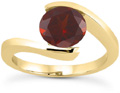 1 Carat Tension-Set Crimson Garnet Ring, 14K Yellow Gold