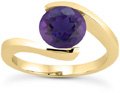 1 Carat Tension-Set Purple Amethyst Ring, 14K Yellow Gold