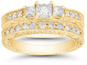 1 Carat Three Stone Princess Cut Antique-Inspired Diamond Bridal Wedding Ring Set, 14K Yellow Gold