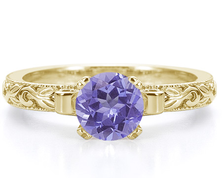 1 Carat Violet Floral Tanzanite Engagement Ring, 14K Yellow Gold