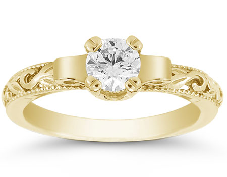Art Deco Style 0.50 Carat Diamond Engagement Ring, 14K Yellow Gold