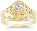 1800s Antique-Style 1/3 Carat Diamond Engagement and Wedding Ring Set, 14K Yellow Gold
