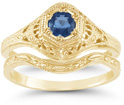 1800s Antique-Style Blue Sapphire Bridal Wedding Ring Set, 14K Yellow Gold
