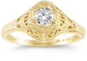 1800s-Era Antique-Style Diamond Engagement Ring in 14K Yellow Gold