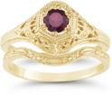 1800s Era Antique-Style Red Ruby Wedding Bridal Ring Set, 14K Yellow Gold