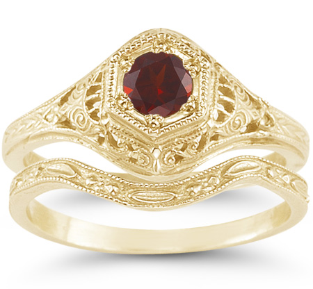 1800s Period Style Red Garnet Bridal Wedding and Engagement Ring Set in 14K Yellow Gold