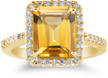 2.75 Carat Yellow Citrine and Diamond Cocktail Ring, 14K Yellow Gold