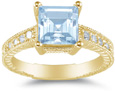 2 Carat Princess-Cut Aquamarine and Diamond Ring, 14K Yellow Gold