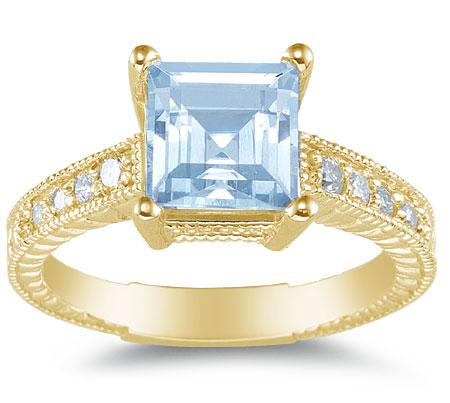 2 Carat Princess-Cut Aquamarine and Diamond Ring, 14K Yellow Gold