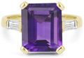 5 Carat Emerald-Cut Amethyst and Baguette Diamond Ring, 14K Yellow Gold
