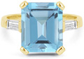 5 Carat Emerald-Cut Blue Topaz and Baguette Diamond Ring in 14K Yellow Gold