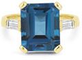 5 Carat Emerald-Cut London Blue Topaz and Diamond Ring in 14K Yellow Gold