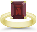 8mmx 6mm Emerald-Cut Garnet Solitaire Ring in 14K Yellow Gold