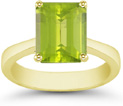 8mm x 6mm Emerald-Cut Peridot Solitaire Ring, 14K Yellow Gold