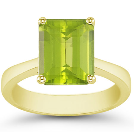8mm x 6mm Emerald-Cut Peridot Solitaire Ring, 14K Yellow Gold