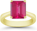 8mm x 6mm Emerald-Cut Pink Topaz Solitaire Ring, 14K Yellow Gold