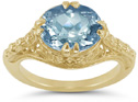 Antique-Inspired 1800s Swiss Blue Topaz Ring in 14K Yellow Gold