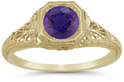 Antique-Inspired Lattice Filigree Purple Amethyst Ring in 14K Yellow Gold