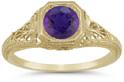 Antique-Inspired Lattice Filigree Purple Amethyst Ring in 14K Yellow Gold