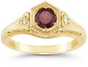 Antique-Period Crimson Garnet and Diamond Heart Ring in 14K Yellow Gold