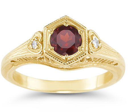 Antique-Period Crimson Garnet and Diamond Heart Ring in 14K Yellow Gold