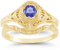 Antique-Style 1800s Era Tanzanite Engagement and Wedding Ring Set, 14K Yellow Gold
