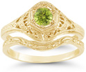 Antique-Style 1800s Green Peridot Bridal Wedding Ring Set, 14K Yellow Gold
