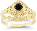 Antique-Style 1800s Period Black Diamond Bridal Wedding Ring Set, 14K Yellow Gold