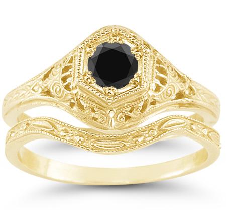 Antique-Style 1800s Period Black Diamond Bridal Wedding Ring Set, 14K Yellow Gold