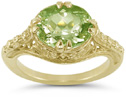 Antique-Style 1800s Vintage Filigree Peridot Ring in 14K Yellow Gold