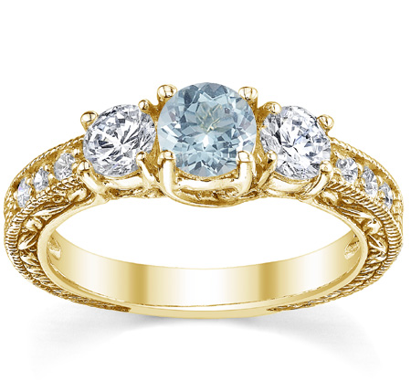 Antique-Style Aquamrine and Diamond Three Stone Engagement Ring, 14K Yellow Gold