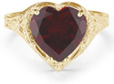 Antique-Style Filigree Crimson-Red Garnet Heart Ring in 14K Yellow Gold