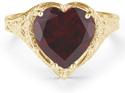 Antique-Style Filigree Crimson-Red Garnet Heart Ring in 14K Yellow Gold