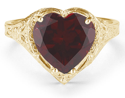 Vintage Style Jewelry, Retro Jewelry Antique-Style Filigree Crimson-Red Garnet Heart Ring in 14K Yellow Gold $675.00 AT vintagedancer.com