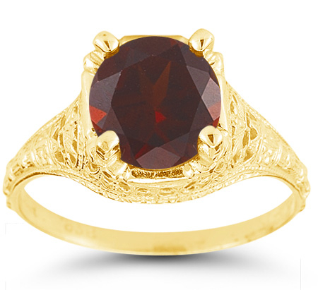 Antique-Style Floral from the 1800s-Era Red Garnet Ring in 14K Yellow Gold
