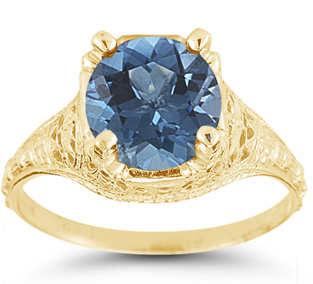 Antique-Style from the 1800s Floral Blue Topaz Ring in 14K Yellow Gold