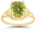 Antique-Style from the 1800s Period Floral Green Peridot Ring in 14K Yellow Gold