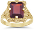 Antique-Style Rectangular Emerald-Cut Garnet Ring in 14K Yellow Gold