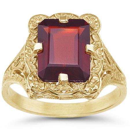 Antique-Style Rectangular Emerald-Cut Garnet Ring in 14K Yellow Gold