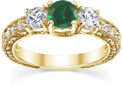 Antique-Style Three-Stone Green Emerald and Diamond Engagement Ring, 14K Yellow Gold