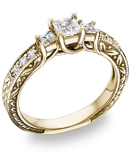 Antique-Style 3/4 Carat Three-Stone Princess-Cut Diamond Engagement Ring in 14K Yellow Gold