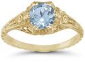 Antique-Style Victorian-Era Floral Aquamarine Ring in 14K Yellow Gold