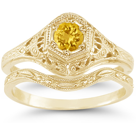 Antique-Style Victorian Yellow Citrine Bridal Wedding and Engagement Ring Set, 14K Yellow Gold