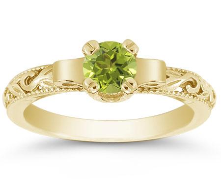 Art Deco Design Green Peridot Ring, 14K Yellow Gold