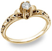 Art Deco Design 0.25 Carat Diamond Engagement Ring, 14K Yellow Gold